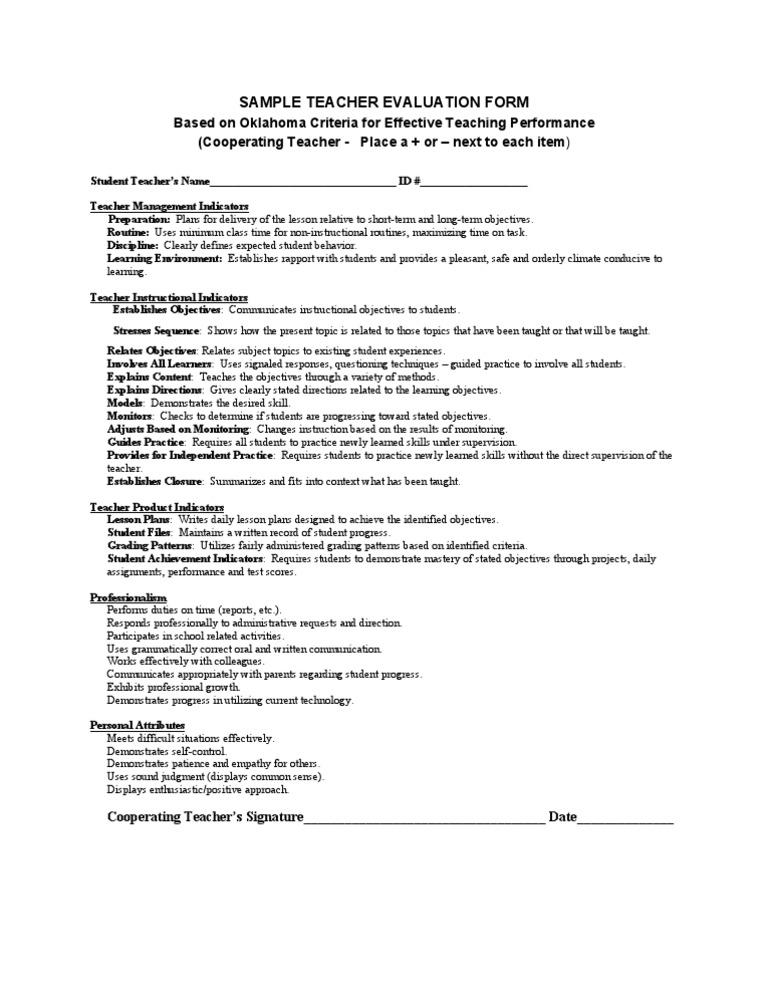Sample Teacher Evaluation Form  Lesson Plan  Teachers