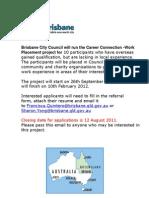 Work Placement Expression of Interest BRISBANE QLD AUSTRALIA