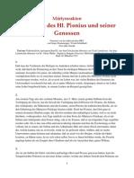 Märtyrerakten - Die Akten des Hl. Pionius und seiner Genossen