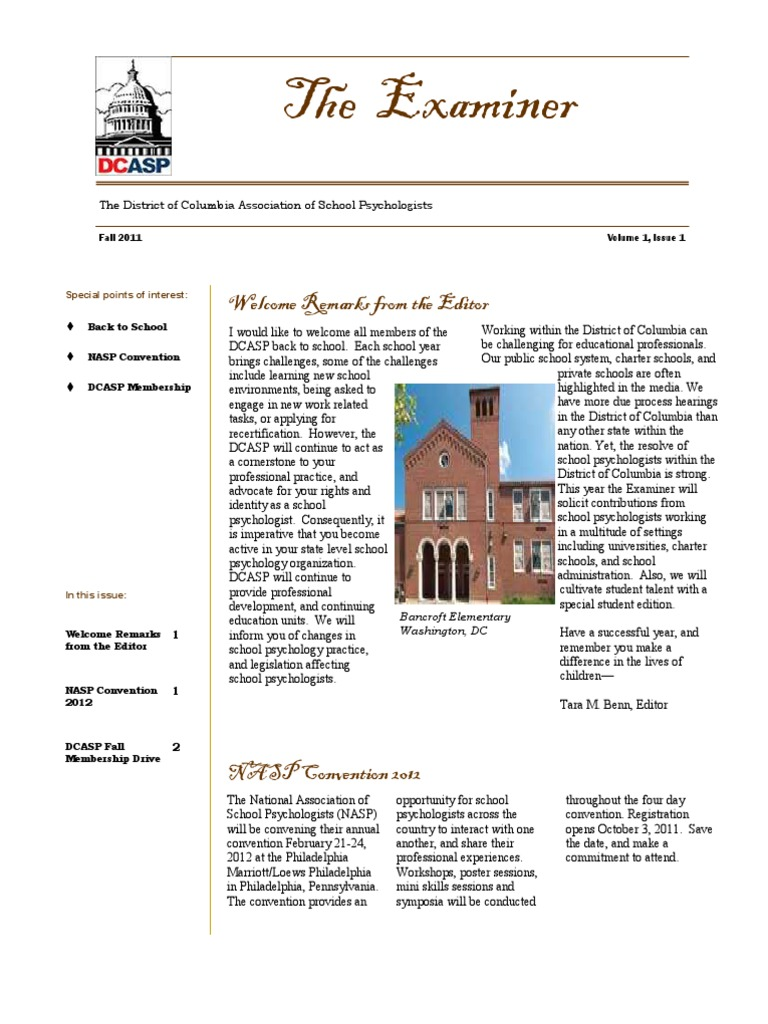 Dcasp examiner fall2011 newsletter vol 1 issue 1 school dcasp examiner fall2011 newsletter vol 1 issue 1 school psychology psychology cognitive science malvernweather Gallery