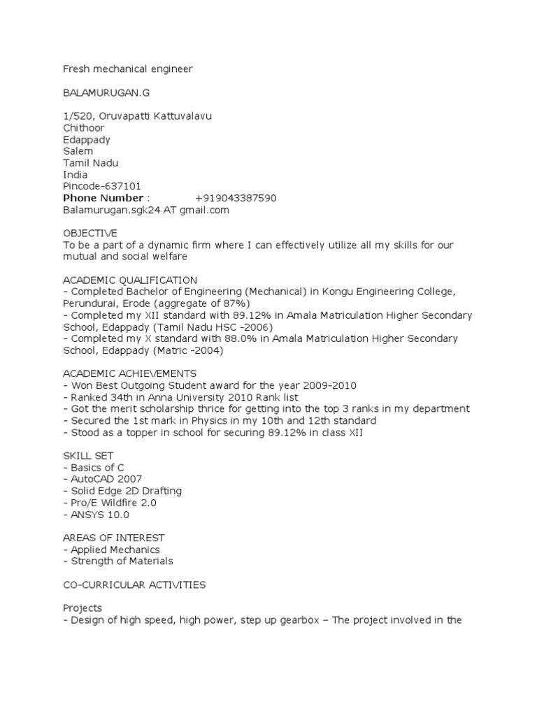 fresh mechanical engineer resume résumé human resource management