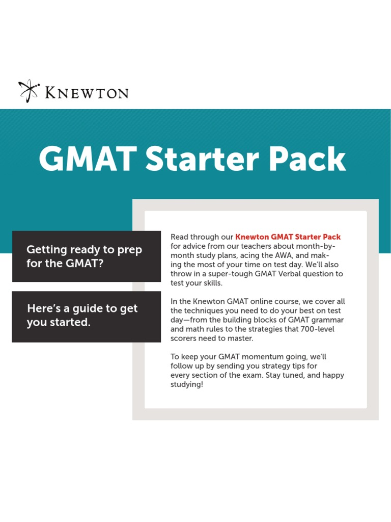 47466261 Knewton GMAT Starter Pack v1 | Graduate Management ...