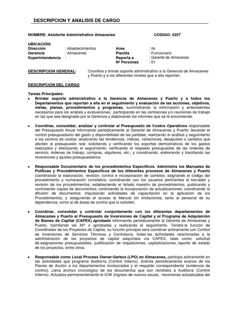 Único Asistente De Gerente Descripción Resumir Friso - Colección De ...