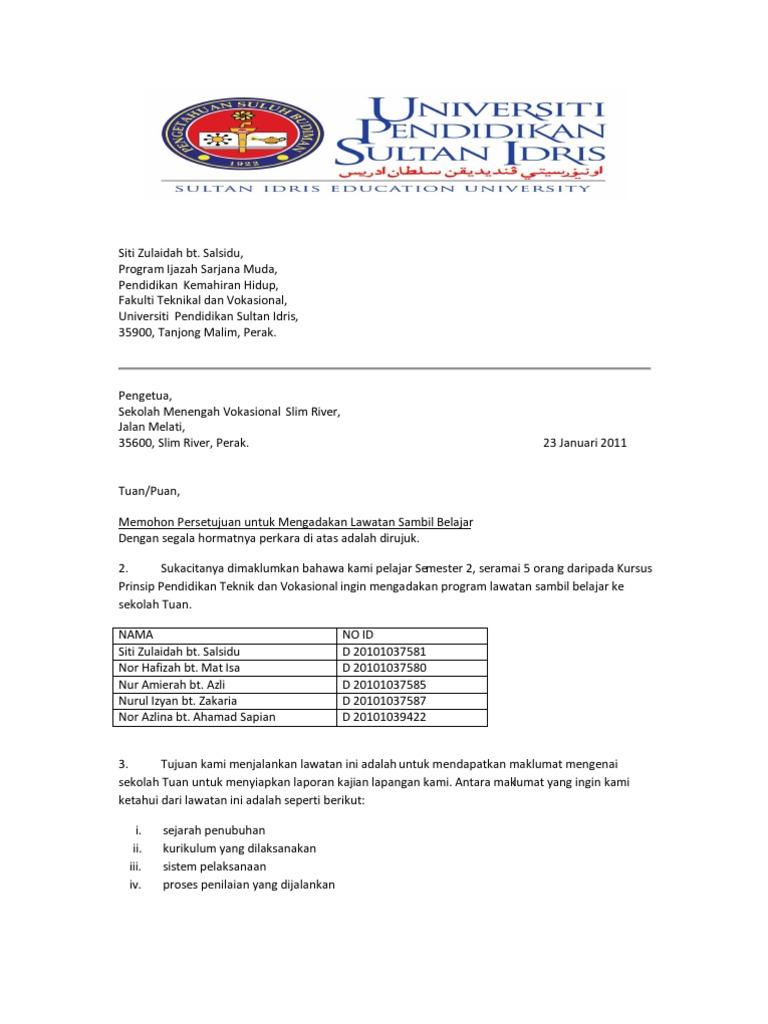 Surat Rasmi Kepada Pengetua Sekolah - Rasmi U