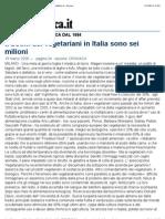 Il Boom Dei Vegetariani in Italia Sono Sei Milioni