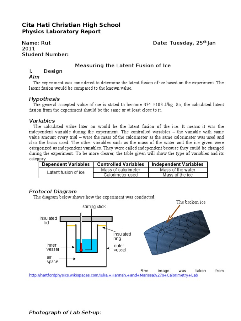 Lab Report Ice - Lf | Experiment | Uncertainty