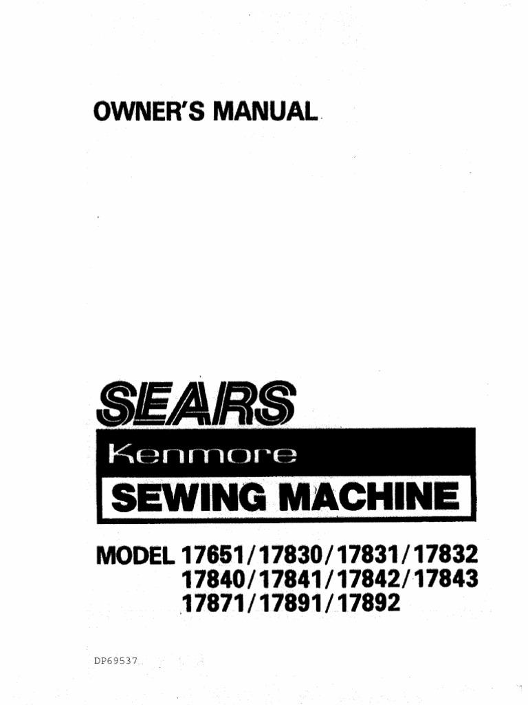 Sears Kenmore 385 1778180 Sewing Machine Seam Model 12 Threading Diagram