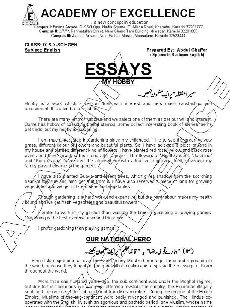 English Essay Short Story  Research Websites For Students also English Example Essay Important Essays For Class Ixx  Literacy  Muhammad Ali Jinnah Essays On High School
