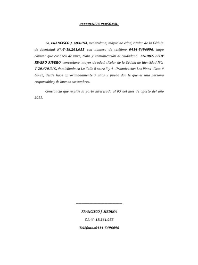 Carta Referencia Personal Para Banco Djdarevecom