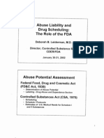 Abuse Liability and Drug Scheduling- Role of the FDA