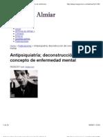 'ANTIPSIQUIATRÍA; DECONSTRUCCIÓN DEL CONCEPTO DE ENFERMEDAD MENTAL' POR ADOLFO VÁSQUEZ ROCCA  PH. D.