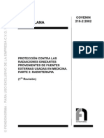 218-2-02 (Proteccion Contra Las Radiciones Ionizantes Provenientes de Fuentes Externas Usadas en Medicina. Parte 1. Radioterapia)