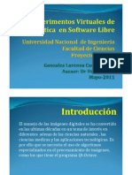 Experimentos Virtuales de óptica  en Software Libre. Carlos D. Gonzales Lorenzo