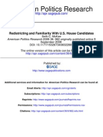 American Politics Research Redistricting and Familiarity With U.S. House Candidates