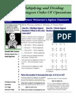 Professor Weissman's Algebra Classroom 07 Multiply Divide Integers
