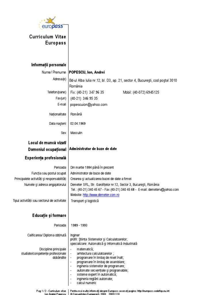 model cv curriculum vitae european romana  doc