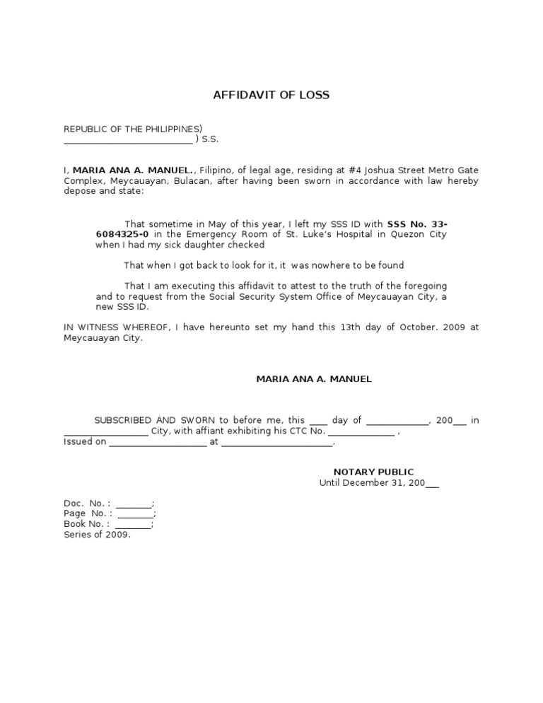Affidavit of Loss Sss – Affidavit Sample Format