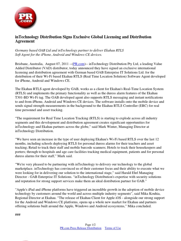 Intechnology Distribution Signs Exclusive Global Licensing And