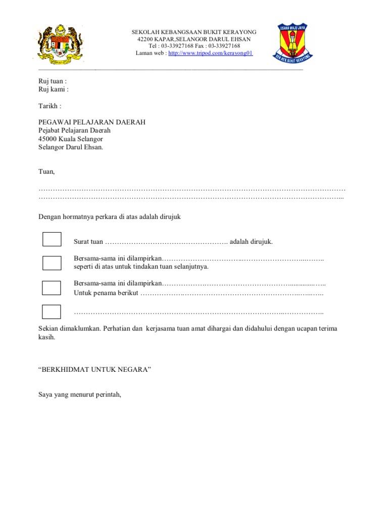 surat iringan sekolah