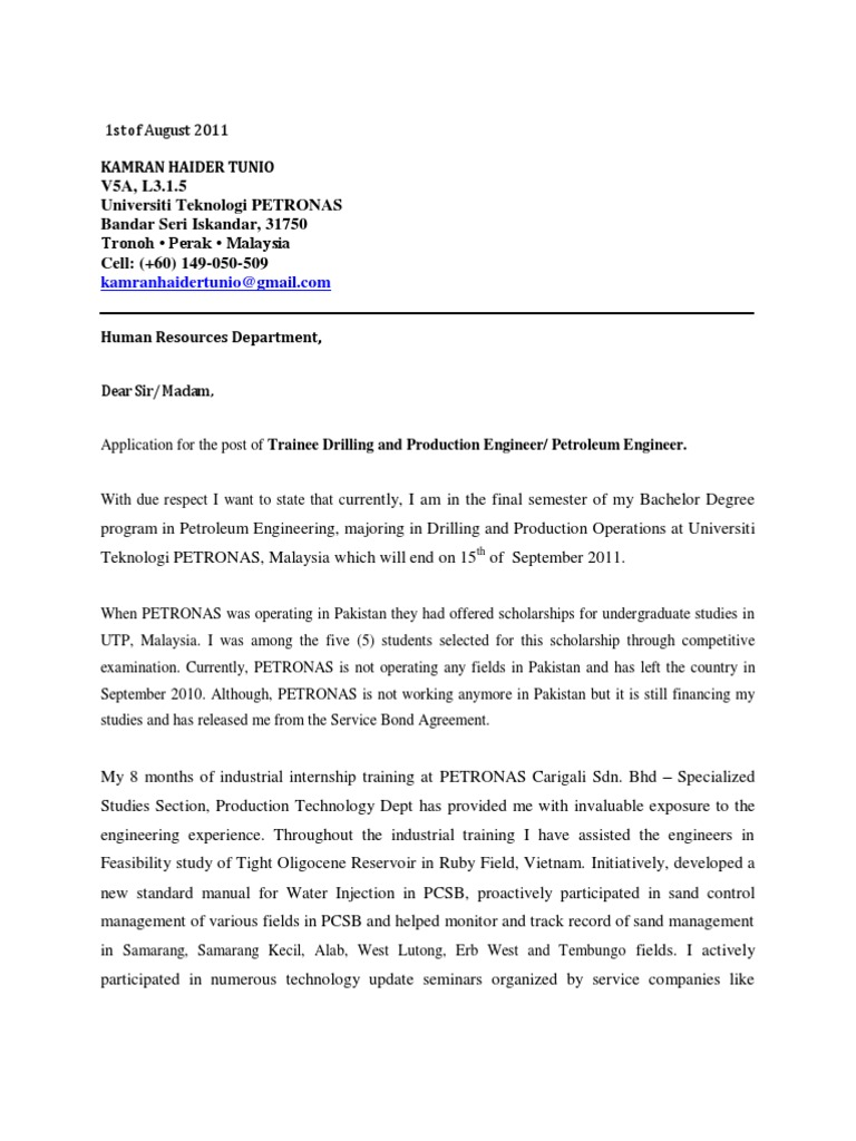 Cover letter resume engineering petroleum reservoir madrichimfo Image collections
