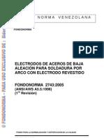 FONDONORMA 2743 2005electrodos