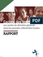 Rapport L Acces Des Femmes Aux Postes de Direction Generale Dans Les Grandes Collectivites Locales
