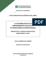 La sostenibilidad de los emprendimientos asociativos de trabajadores autogestionados (Gonzalo Vázquez)