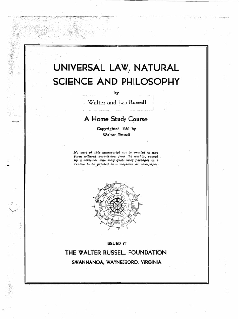 Universal Law Natural Science And Philosophy