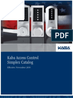 Kaba Simplex Catalog and Price List