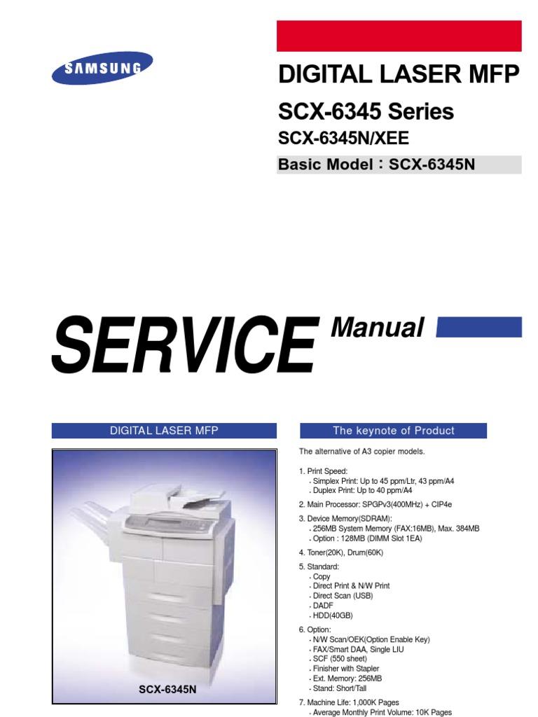 Samsung scx-6545n   electrostatic discharge   image scanner.