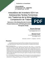 Resultados del Inventario EDI-II en Adolescentes Tardías Femeninas