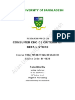 Research Report on Consumer Choice Criteria of Retail Store