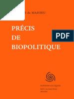 Mahieu (de) Jacques - Précis de biopolitique