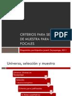 Criterios para selección de muestra para grupos focales