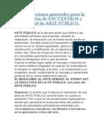 Consideraciones generales para la organización de ENCUENTROS y JORNADAS de ARTE PÚBLICO