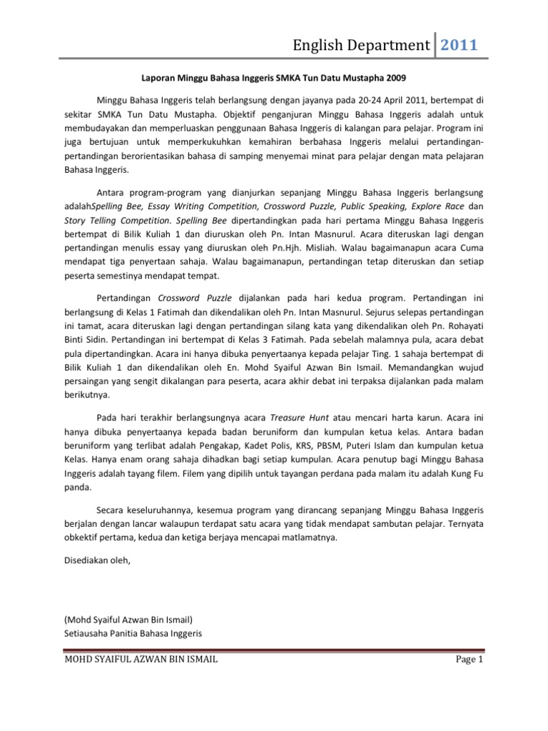 Laporan Minggu Bahasa Inggeris Smka Tun Datu Mustapha 2011
