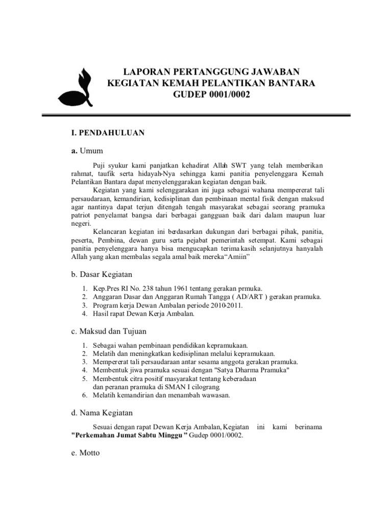 Contoh Proposal Kegiatan Pramuka Pelantikan Bantara Barisan Contoh