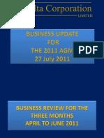 Presentation to Agm 27 July 2011