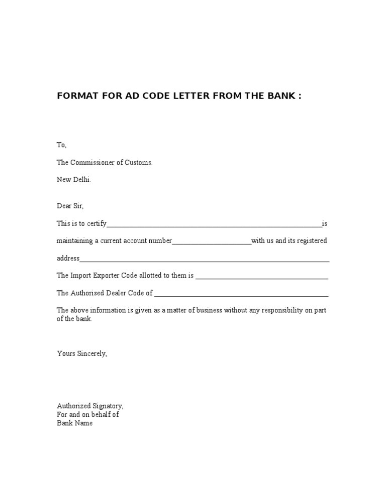 Ad Code Letter From The Bank