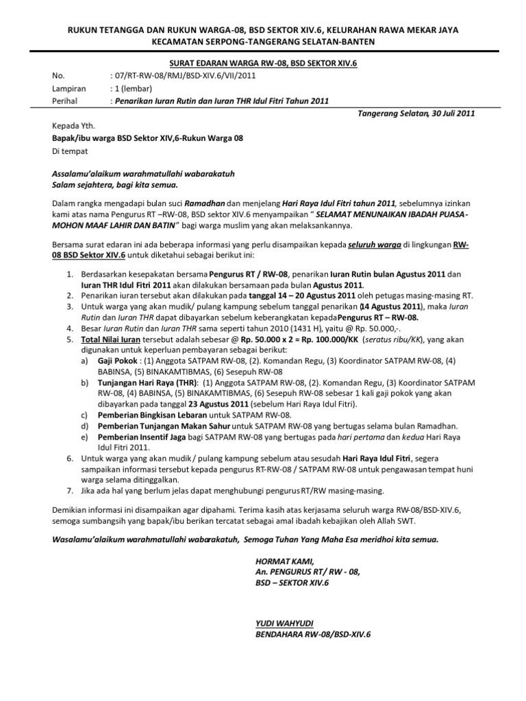 Contoh Surat Edaran Dari Rt Untuk Acara Peringatan 17