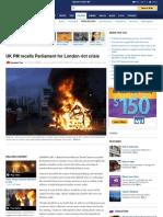 UK PM Recalls Parliament for London Riot Crisis