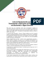 Lista de Equipamento para Treinamento e Operações de Resgate em Enchentes e Água Corrente