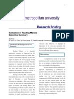 Evaluation of Reading Matters Executive Summary - Leeds Metropolitan University