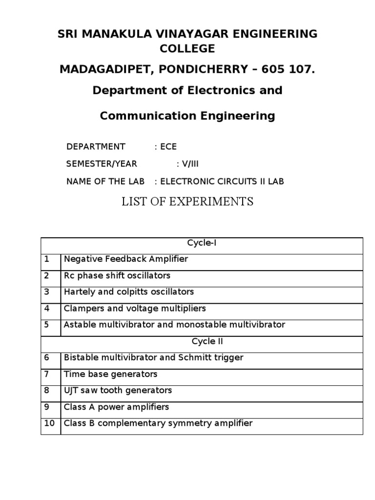 Electronic Circuits Laboratory Experiments | Amplifier