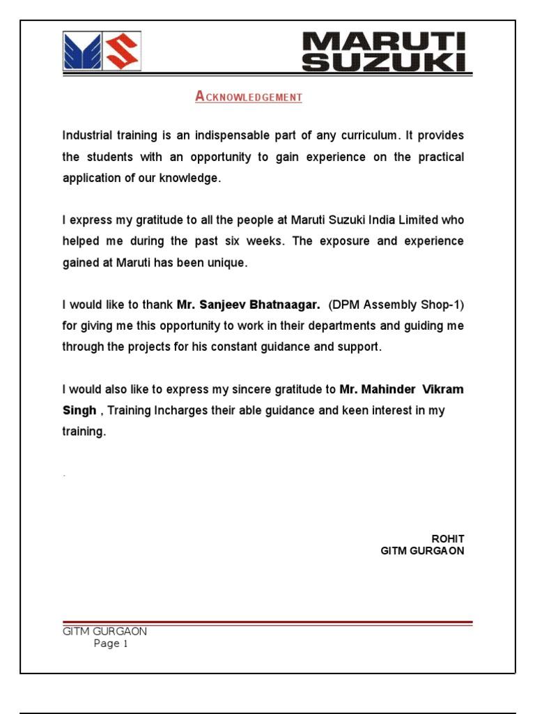 Maruti Suzuki Internship For Mba