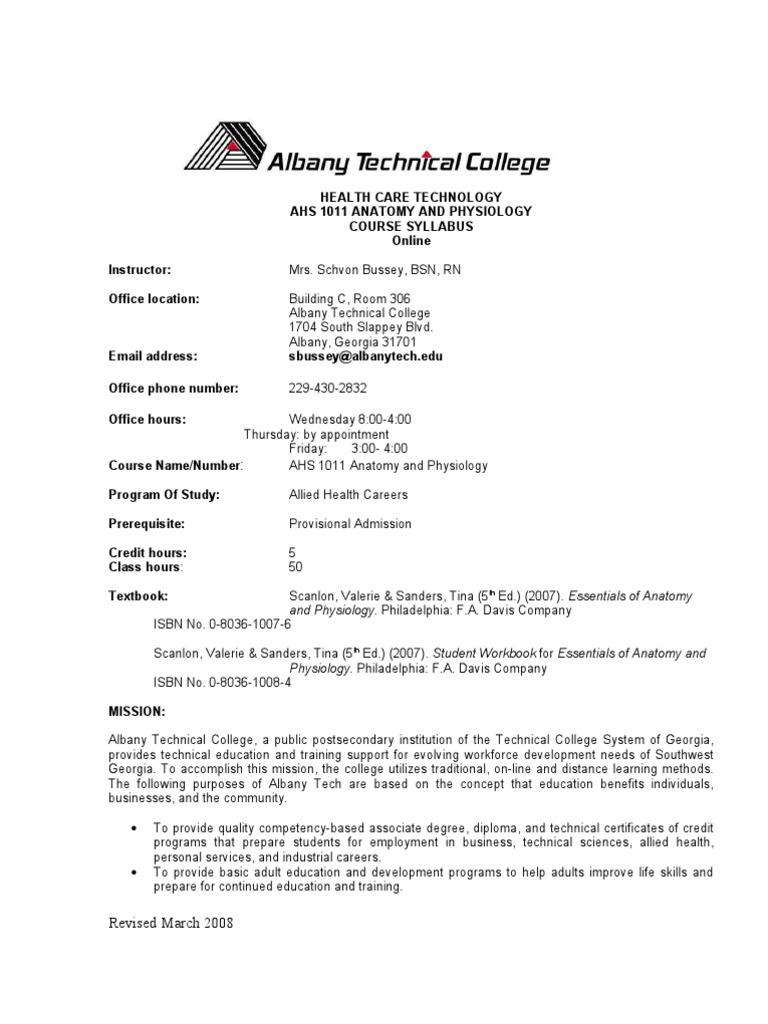 AHS 101 Anatomy and Physiology Syllabus | Human Body | Urinary System