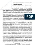 Comunicado de Prensa AIP-UChile Sobre Propuesta Educacional Gobierno_07 Agosto 2011