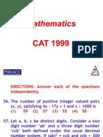 CAT- 1999 Questions PPT -- Maths