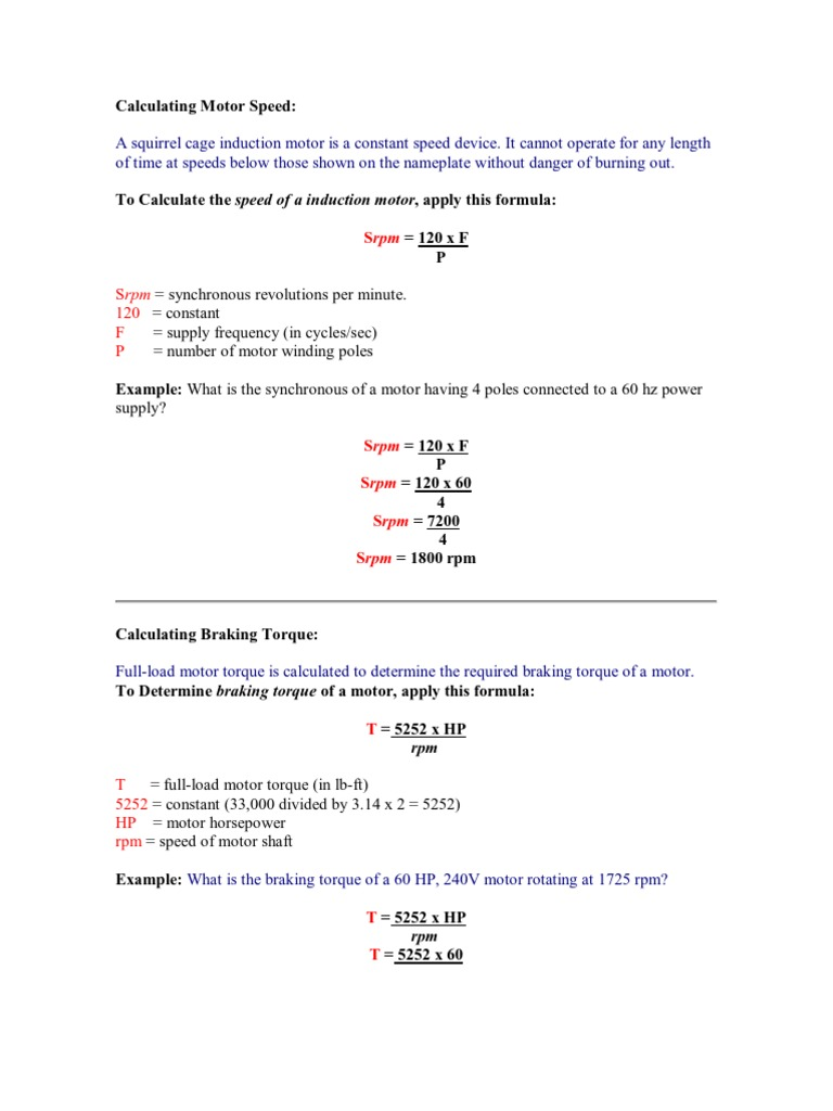 Calculating Motor Speed | Horsepower | Power (Physics)