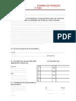 Examen de francés 1º ESO